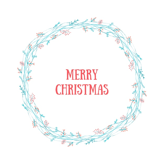 Merry christmas wreath Free Vector