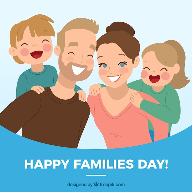 Merry family day background Free Vector