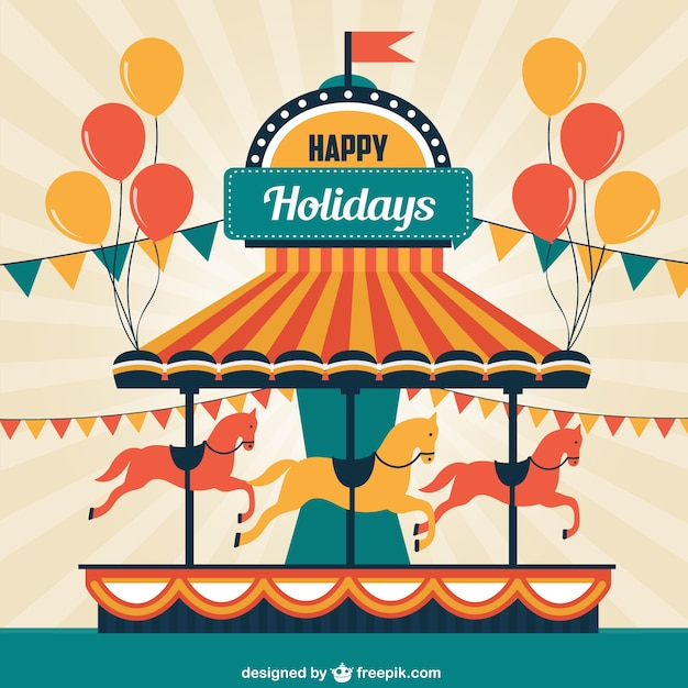Merry-go-round greeting card Vector | Free Download