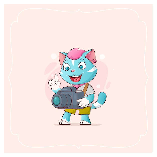 Merry kitty with camera. vector illustration from a series funny pets Premium Vector