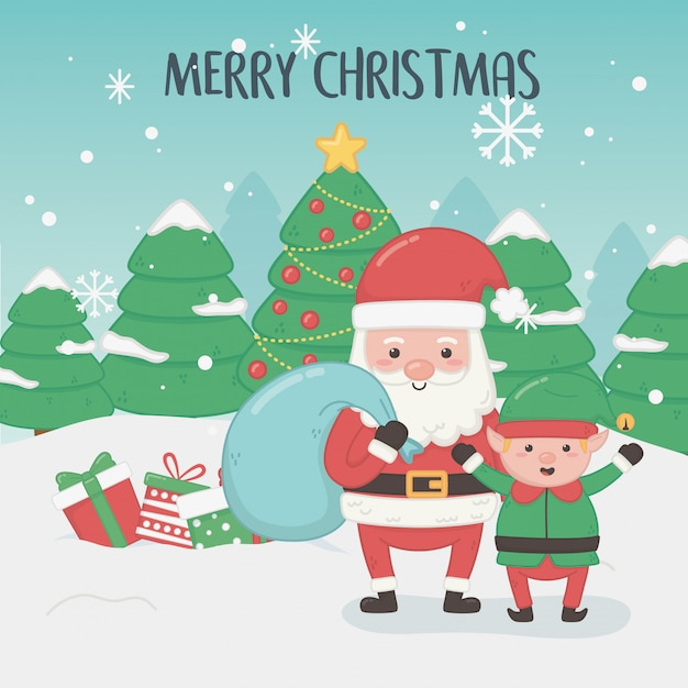merry merry christmas card with santa claus and elf vector premium download