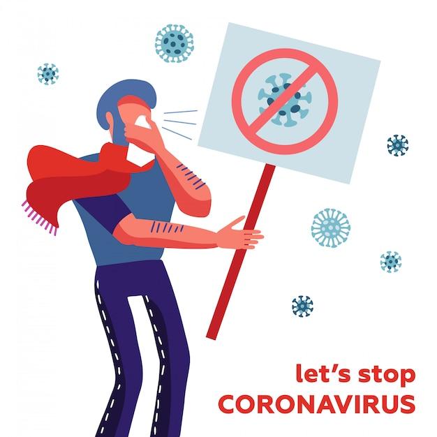 Mers-cov - коронавирус ближневосточного респираторного синдрома, новый коронавирус 2019-ncov, зараженный человек, чихающий в носовой платок со знаменем в руке. - давайте остановим коронавирус Premium векторы
