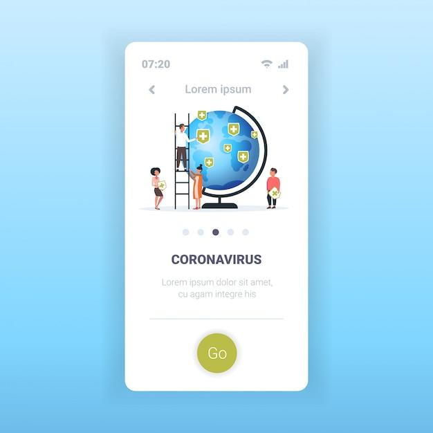 コロナウイルスに感染している国の医療シールドピンを置く世界の人々の流行mers-covインフルエンザ Premiumベクター
