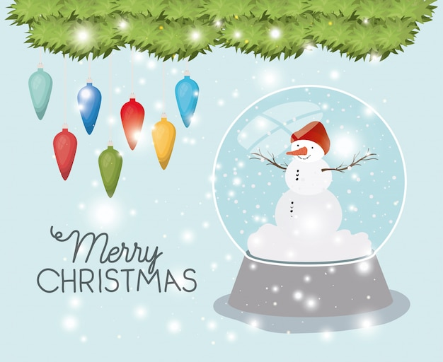 Mery Christmas.Mery Christmas Card With Snowman And Sphere Vector Premium
