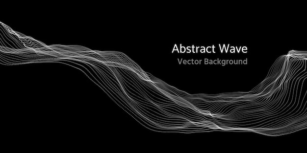 Mesh network 3d abstract wave and particles vector background Premium Vector
