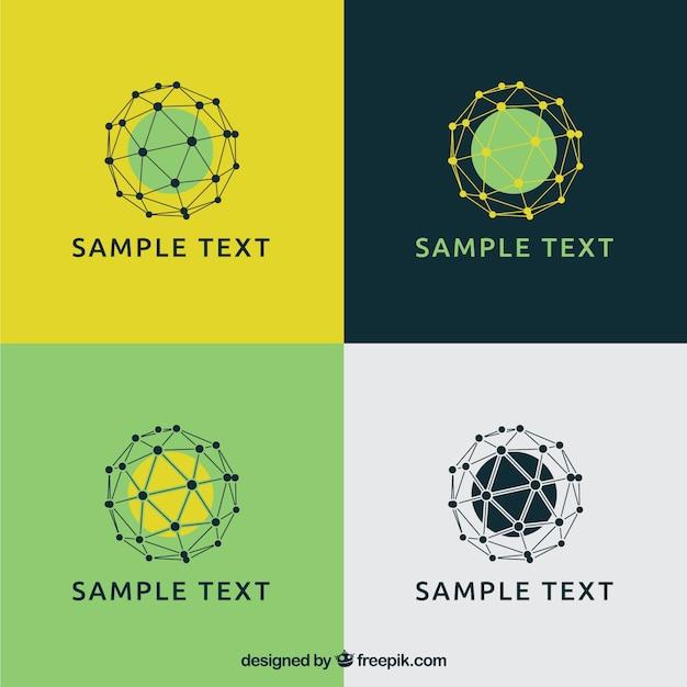 Mesh spheres logos Free Vector