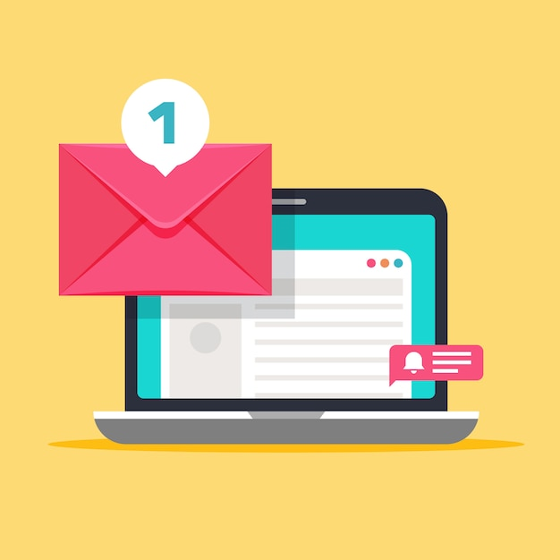 Message on computer screen. mailing concept with envelope and laptop Premium Vector