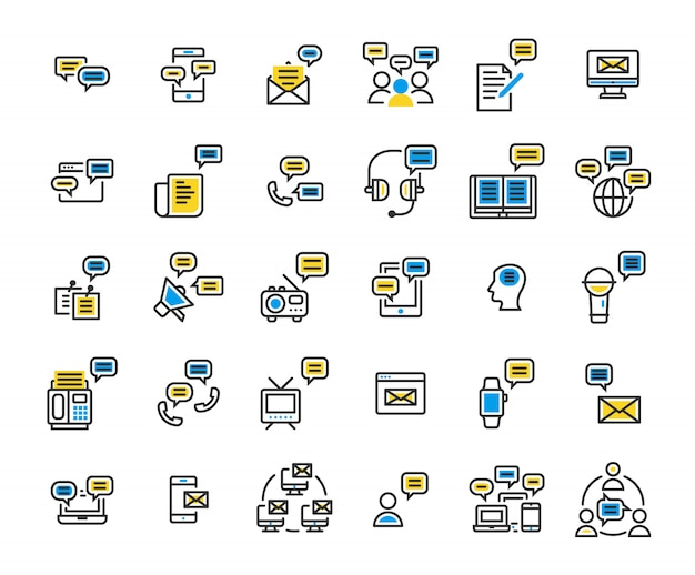 Message filled outline icon set. Premium Vector