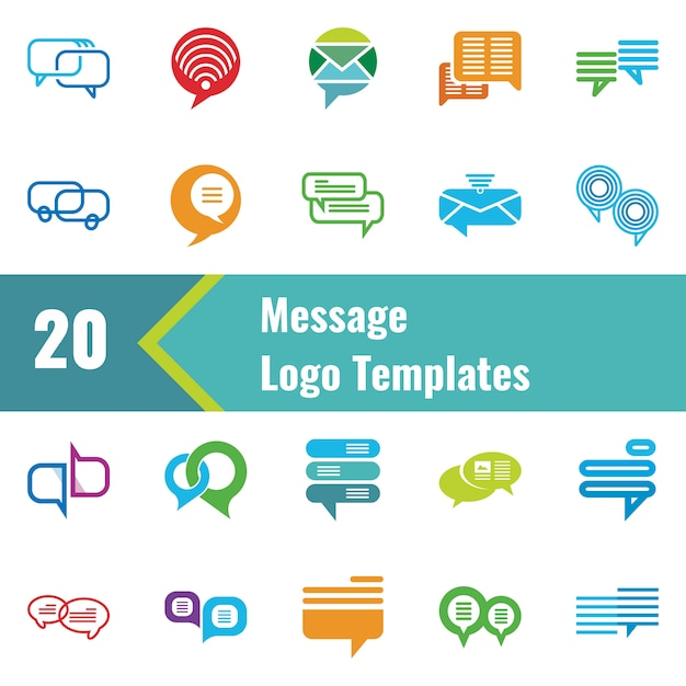 Message logo template Premium Vector