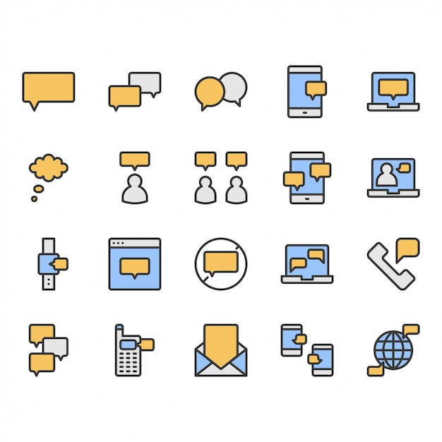 Message and speech bubble related icon and symbol set Premium Vector