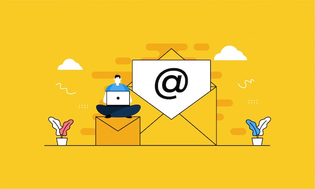 Message us in flat style Premium Vector