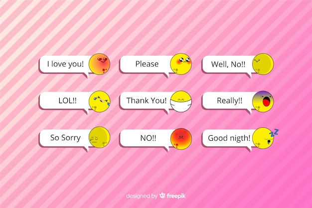 Messages with emojis on pink background Free Vector