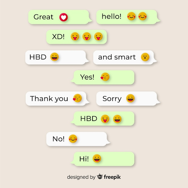 Messages with emojis reactions Free Vector