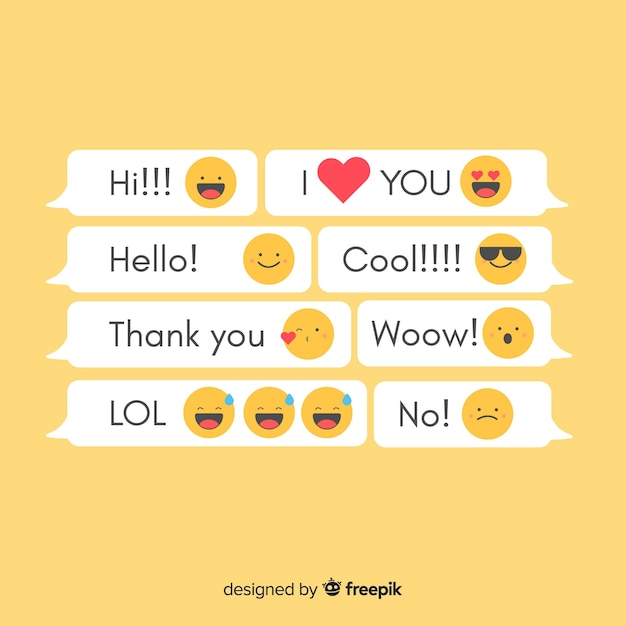Messages with emojis Free Vector