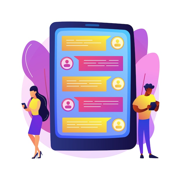 Messaging application abstract concept  illustration. texting desktop application, mobile phone chat app, messaging mobile soft, social media messenger, video call, sms . Free Vector