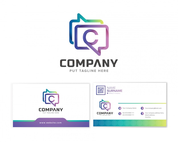 Messaging company logo template with business card Premium Vector