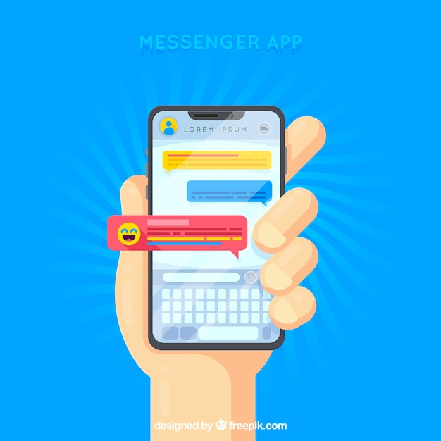 Messenger app for mobile in flat style Free Vector