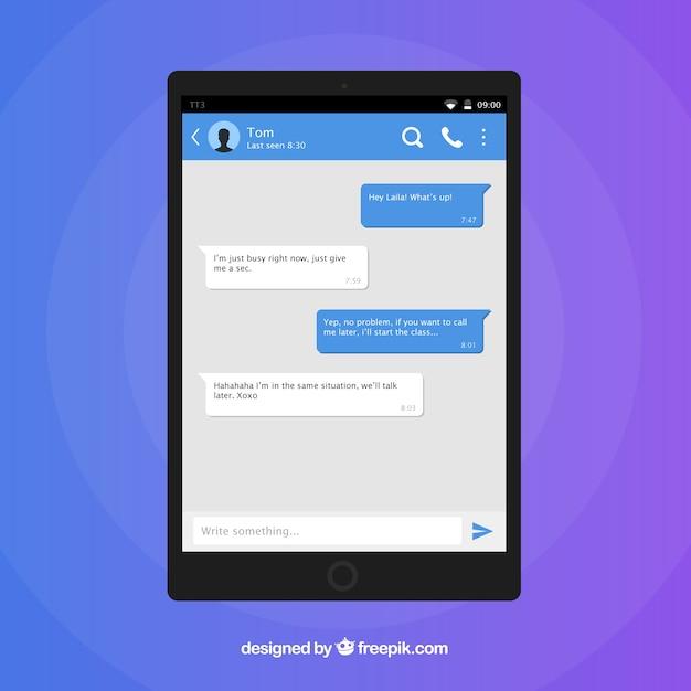 App messenger per dispositivi mobili in stile piano Vettore gratuito