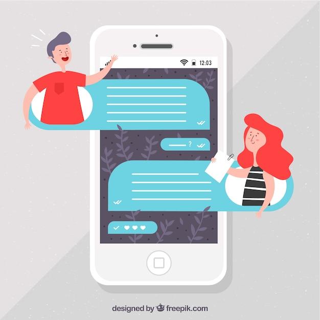 Applicazione messenger per cellulari in stile piano Vettore gratuito