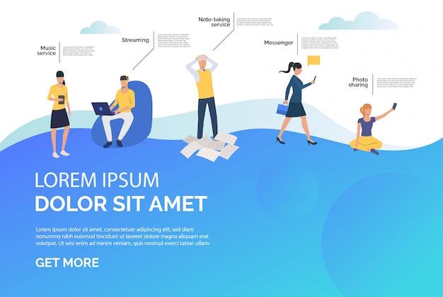 메신저, 스트리밍 및 음악 온라인 서비스 광고 무료 벡터