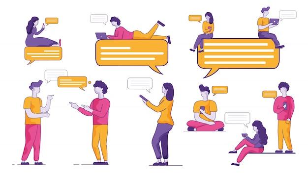 青少年観客はmessengerで積極的にコミュニケーションをとります。 Premiumベクター