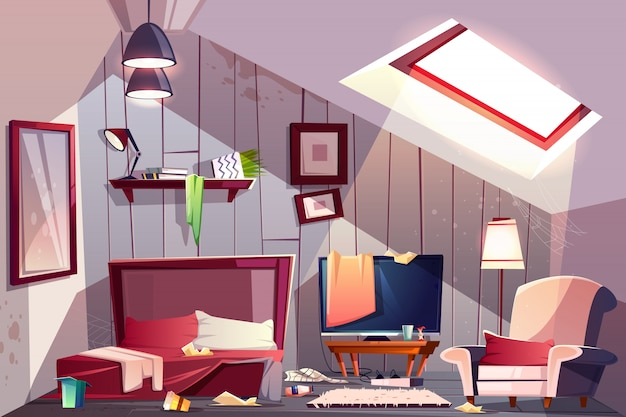 Messy attic bedroom or guest room on garret interior with scattered clothes, stained walls Free Vector