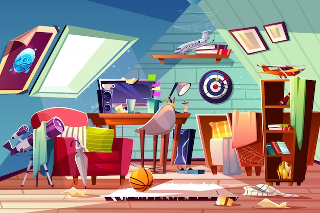 Messy attic kids room interior with uncovered bed, clutter on desk, scattered clothes and toys Free Vector