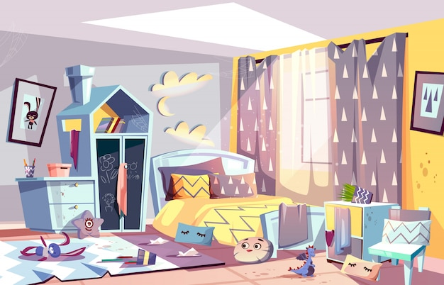 Messy bedroom of lazy child with scattered toys Free Vector