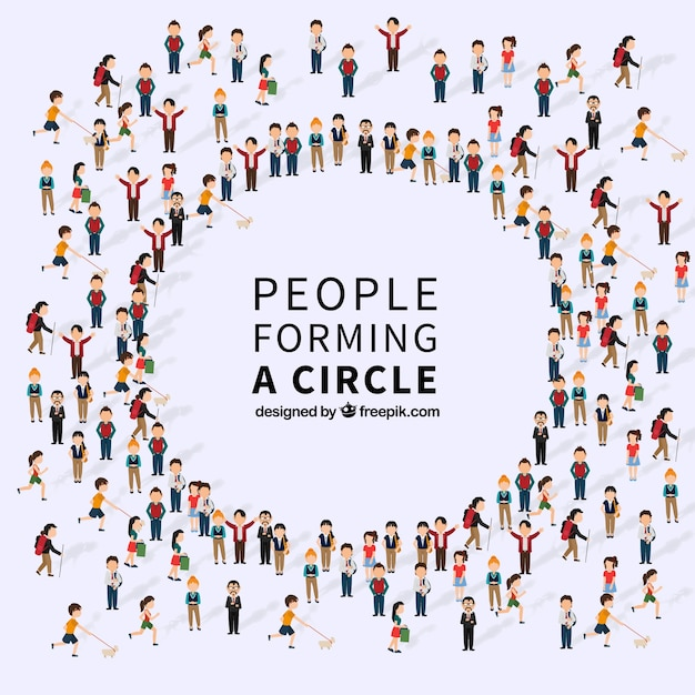 Messy people forming a circle Free Vector