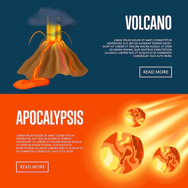 火山噴火とmet石の黙示録バナーwebセット Premiumベクター