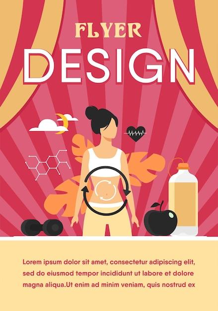 다이어트에 여성의 대사 과정. 소화 시스템, 음식 에너지, 호르몬 시스템 플랫 플라이어 템플릿 무료 벡터