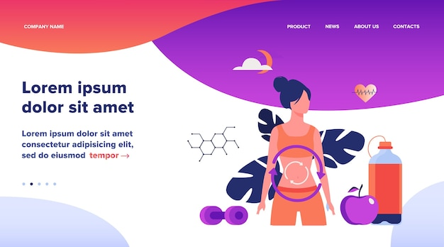 Metabolic process of woman on diet. digestion system, food energy, hormone system flat vector illustration. healthy eating concept website design or landing web page Free Vector