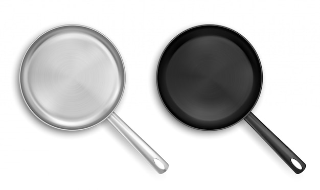 Metal and black nonstick frying pans top view Free Vector