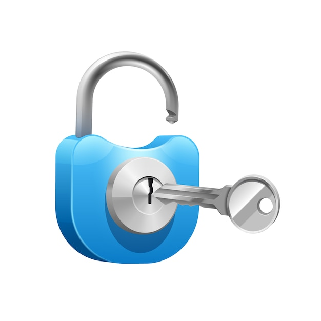 Metal blue padlock with key for opening or closing Free Vector