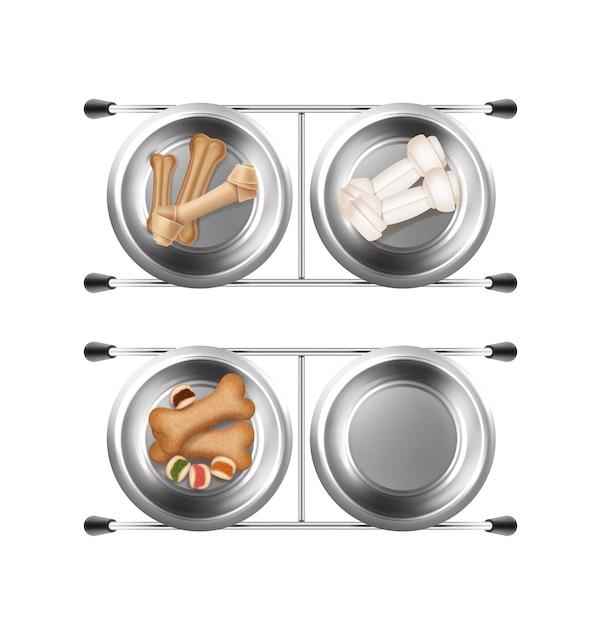 Металлические миски для кормления домашних животных с костями и закусками 3d иллюстрации Premium векторы