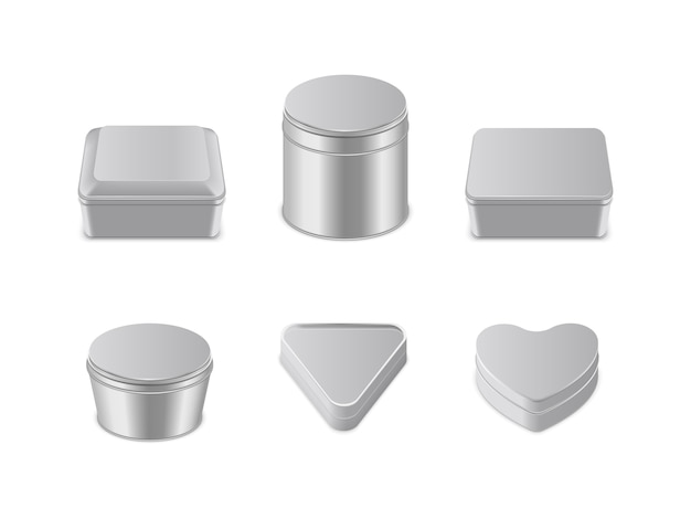 Metal box icon set Premium Vector