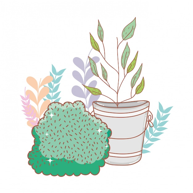 Metal bucket with flowers with bush Premium Vector