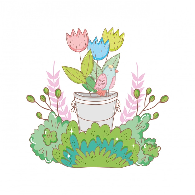 Metal bucket with flowers with bush Premium Vector