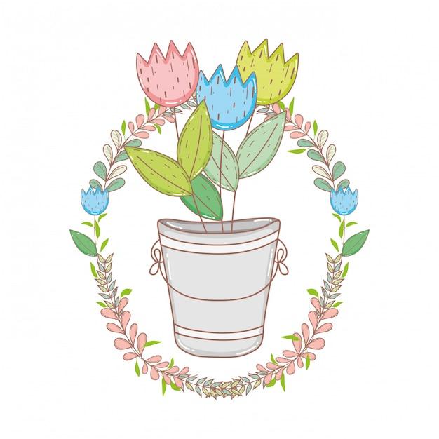 Metal bucket with flowers and wreath Premium Vector