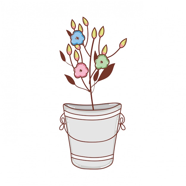 Metal bucket with flowers Premium Vector