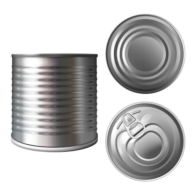 Metal can or tin illustration of 3d realistic container for food preserves or conserves. Free Vector