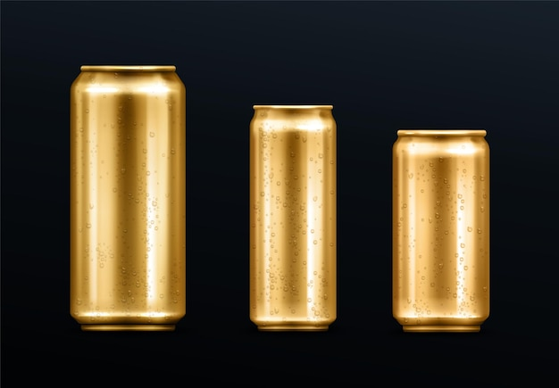물방울이 든 금속 캔, 탄산 음료 또는 에너지 드링크 용 금색 용기, 레모네이드 또는 맥주. 브랜드 디자인 서식 파일 현실적인 3d 벡터 세트에 대 한 차가운 결로와 격리 된 황금 빈 모형 무료 벡터