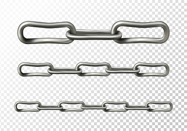 Metal chain illustration of realistic 3d metallic or silver chain links Free Vector