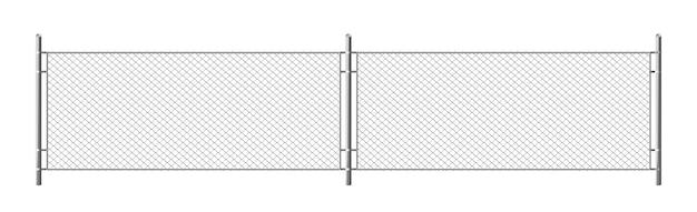 金属チェーンリンクフェンス、rabitzグリッドの白い背景で隔離のセグメント。スチールワイヤーメッシュ、刑務所、軍事チェーンリンク境界のセキュリティバリアのリアルなイラスト 無料ベクター