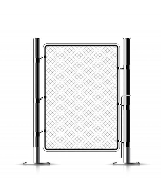 Metal chain link fence. Premium Vector