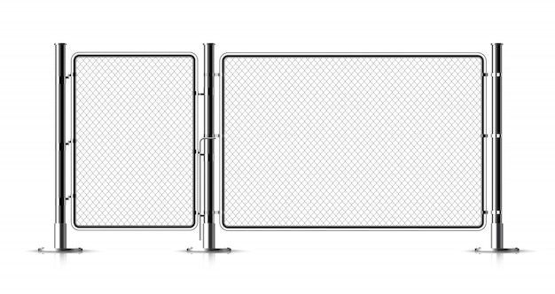 Metal chain link fence. Premium Vector
