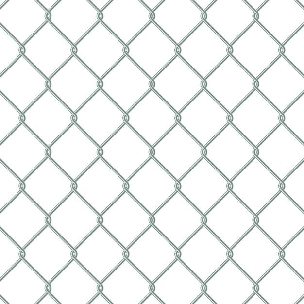 Metal chain link fence Premium Vector