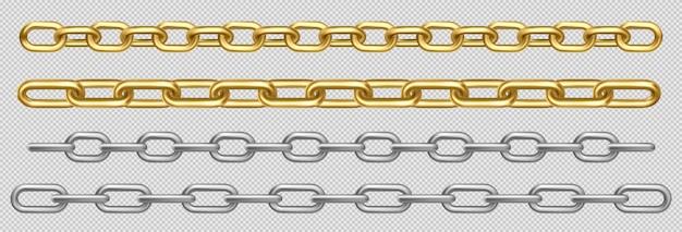 Набор металлических цепочек из серебряных, стальных или золотых звеньев Бесплатные векторы