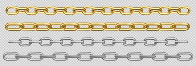 Metal chain of silver, steel or golden links set Free Vector