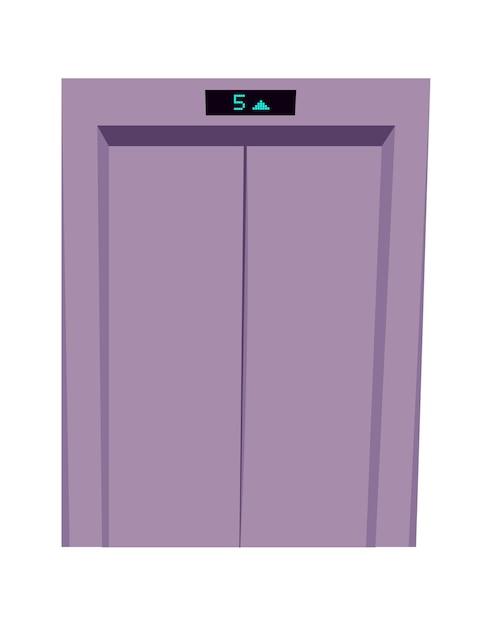金属製の閉じたエレベーターのドア、エレベーターの入り口とフロアインジケーター漫画のベクトル図 無料ベクター